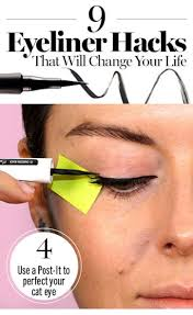 use a post it as a guide for winged liner