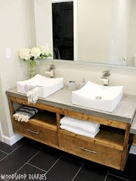 diy floating vanity. Perfect Floating Modern Bathroom With DIY Floating Vanity And Concrete Counter Tops Vessel  Sinks Silver Finishes Gorgeous Modern Style Bathroom To Diy Vanity T
