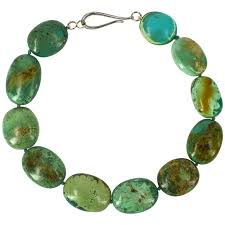 large green natural chinese turquoise nugget silver necklace for at 1stdibs