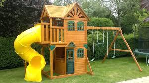 wooden playhouse toddler backyard cottage cedar outdoor kids fun house play