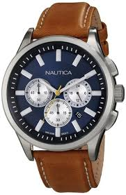 amazon com nautica men s n16695g nct 17 brushed stainless steel amazon com nautica men s n16695g nct 17 brushed stainless steel watch brown band nautica watches