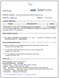 Curriculum Vitae Formats Adorable Resume Template Of A SAP Certified Professional With Great Work
