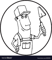 Cartoon worker with tool circle logo royalty free vector