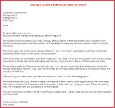 Sample Landlord Reference Letter For Tenant