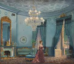 painting of frances folsom in the blue room white house historical association blue room white