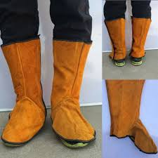 anti fire sputtering protection welder feet shins leather cover boots protector