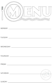Weekly Menu Plain Menu Templates Blank Dinner Template Free For Word Weekly Meal ...