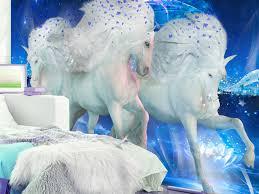Muurmuur Fairytale Unicorns Blue Dieren Fotobehang