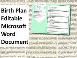 Birth Plan Inspiration Printable Birth Plan TEMPLATE Editable Microsoft Word Document Etsy