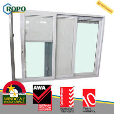 thermal insulation upvc pvc plastic 3 track sliding glass door with blinds