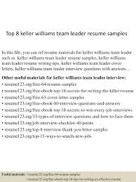 top keller williams team leader resume samples