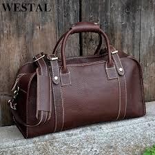 westal multi purpose mens travel bags leather travel duffle bag genuine leather men bags suitcase weekend