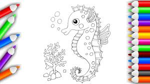 Cute Cartoon Seahorse Coloring Pages For Kids Play With Colors