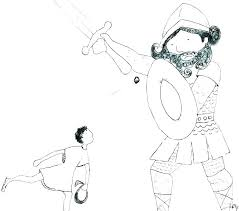 David Kills Goliath Coloring Page And With Verse Pages Trend Vs