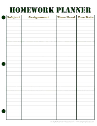 Student Assignment Planner Printable Student Assignment Planner Template