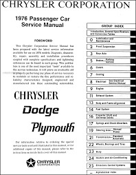 1976 chrysler plymouth dodge car repair shop manual original set