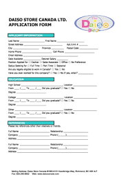 daiso job application form fillable online daiso store canada ltd application form fax email