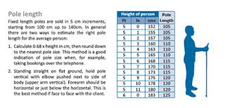 X Pole Size Chart Size Guide Exel Nordic Walking Poles