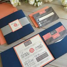 best 25 pocket invitation ideas on pinterest diy cards and Wedding Invitation Kits Coral modern wedding invitations navy and coral by inspirationidodesign wedding invitation kits can insert picture