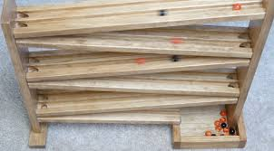 amish made wooden marble roller racetrack toy