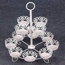 cupcake stand white metal 12 pieces