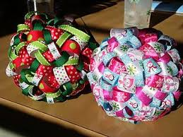 Ribbon ornament - easy craft that looks like an expensive find at an upper  boutique. Loops pinned onto a Styrofoam ball. Sounds easy enough for  children!