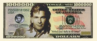 novelty dollar patrick swayze memorative dollar bills x 4