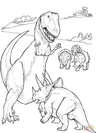 Small Picture Tyrannosaurus and Triceratops coloring page Free Printable