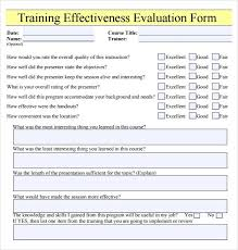 Sample Course Evaluation Forms. Sample Training Evaluation Form ...