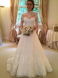high neck long sleeves lace a line court train wedding dress