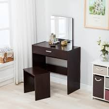 dressing table vanity makeup dresser desk espresso w mirror drawer stool