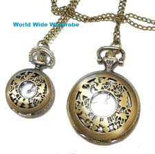 dm service shipment ok alice in wonderland lacework antique like pendant watch