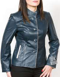 las navy blue leather jacket florence front