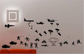 Wall Art Army Troops Helicopter Tanks Wall Art Quote Sticker Vinyl Kids