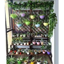 Antiseptic wooden flower rack balcony multi-layer landing ladder ...