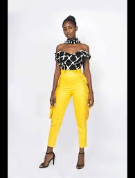 Yhebe Design Pants Yellow High Waist Pants Yellow None Casual None For Her Line Evening Wear