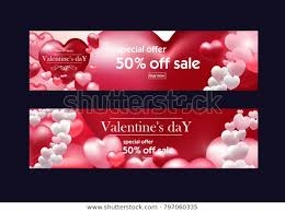 Valentines Flyers Valentines Day Discount Banner Flyers Valentines Stock