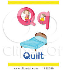 Cartoon Of A Letter Q Word And Quilt - Royalty Free Vector Clipart ... & Cartoon Of A Letter Q Word And Quilt - Royalty Free Vector Clipart by  Graphics RF Adamdwight.com