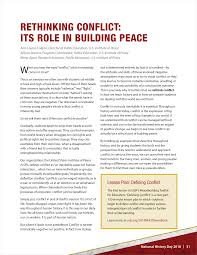 Rethinking Conflict Its Role In Building Peace United States