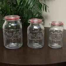 country classic 3 piece glass preserving and storage jar set with wire ball and trigger closure