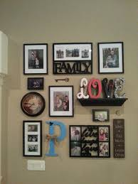 Collage wall - Great idea to add clock and self to hold letters. I like