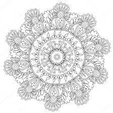 Floral Bloemen Mandala Kleurplaten Stockvector Ingasmk 113580104