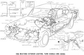 1966 mustang wiring diagrams average joe restoration 1966 mustang exterior lighting turn signals and horns · schematic