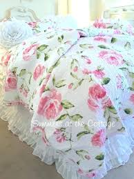 cabbage rose sheet set shabby chic comforter full cottage bedding twin quilts rag quilt ruffles pink