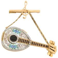 italian 18k gold enamel and diamond mandolin pendant watch brooch g ferrero