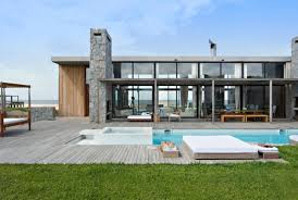 Mattress Pool Wooden Stone Wall Column Glass Pool Chinmey    Modern Exterior Design Pool Lighting Wooden Floor Roof Classic Furniture Andesite Wall Glass Home Villa Designs