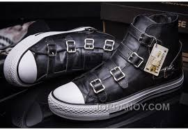 converse vs ash multi buckles black leather chuck taylor all star high tops sneakers super deals