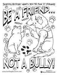 Anti Bullying Coloring Pages Surf Dog Ricochet Teachers Etc My