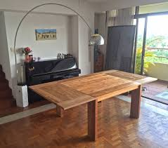 teak dining table design fissure collection by d bodhi size 132 x 132 cm extendable to 254 x 132 cm seats 6 8 to 12 people 2 teak benches 300
