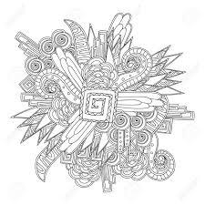 Kleurplaat Voor Sdults Kleurboek Zwart Wit Geometrisch Patroon